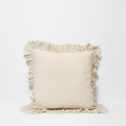 Agnes Linen Cushion with Ruffle Edge - Flax