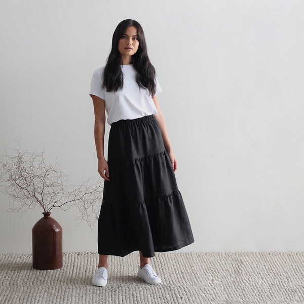 Alexandra Tiered Skirt - Black