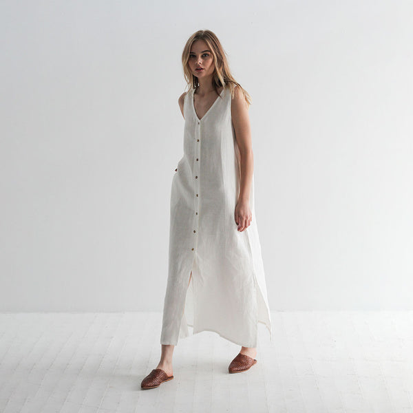 Alice Linen Maxi Dress - Off White