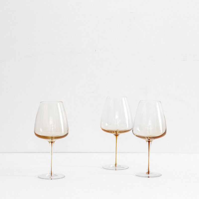Amber Red Wine Glass