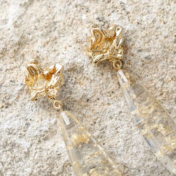 Julia Earrings - Clear/Gold Flake/Gold