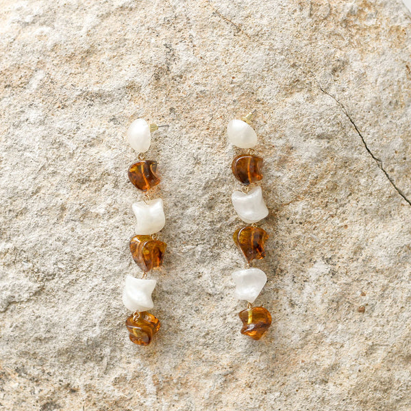 Mandi Earrings - Tortoise Shell / Pearly White