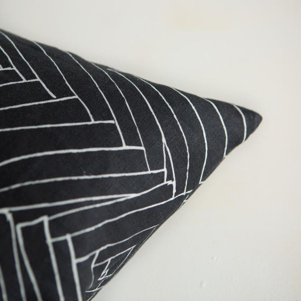 Black Thatch Large Linen Cushion