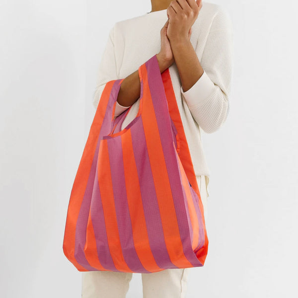 Stripe Reusable Bag - Mauve/Orange