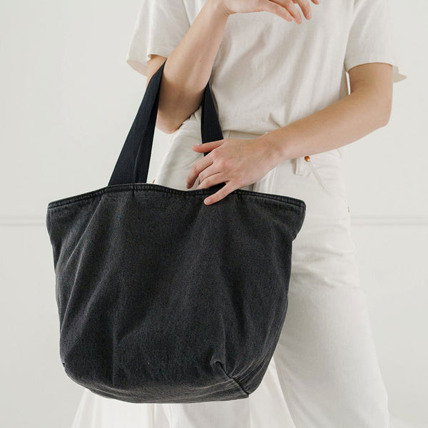 Canvas Zip Tote - Washed Black