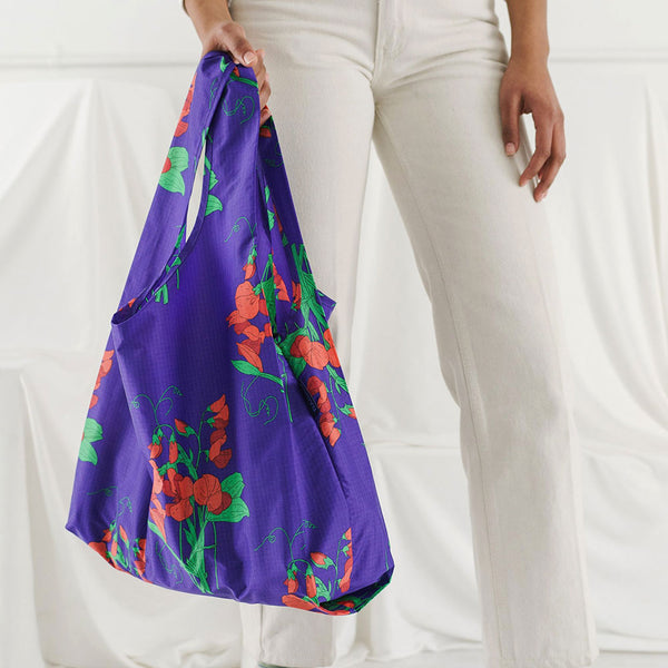 Blue Sweet Pea Reusable Bag