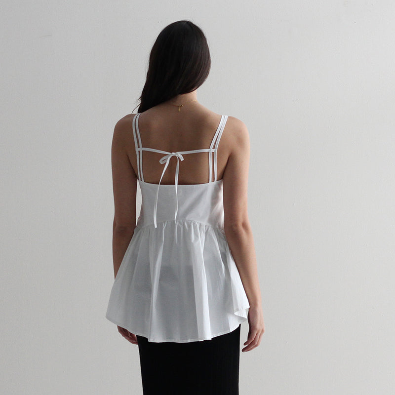 Becky Flare Tank - White