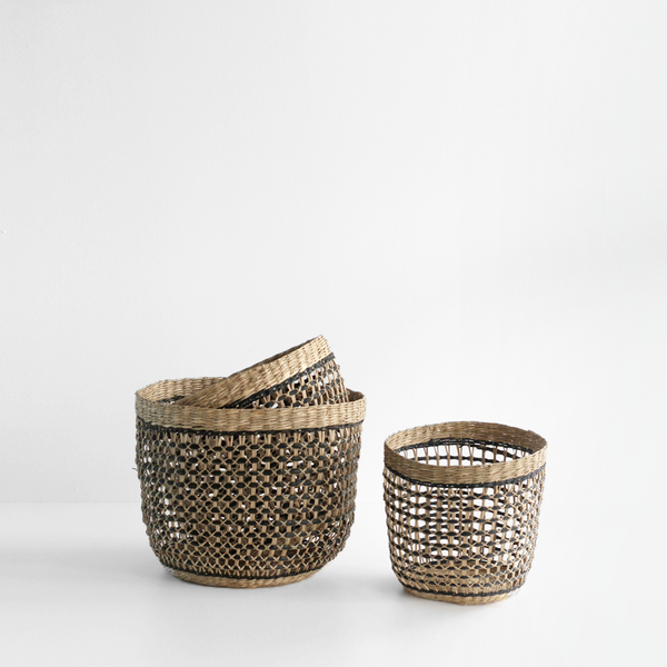 Natural Black Braided Baskets Set of 3