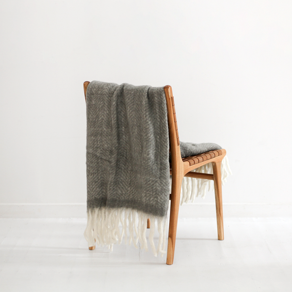Bliss Mohair Blend Herringbone Throw - Charcoal