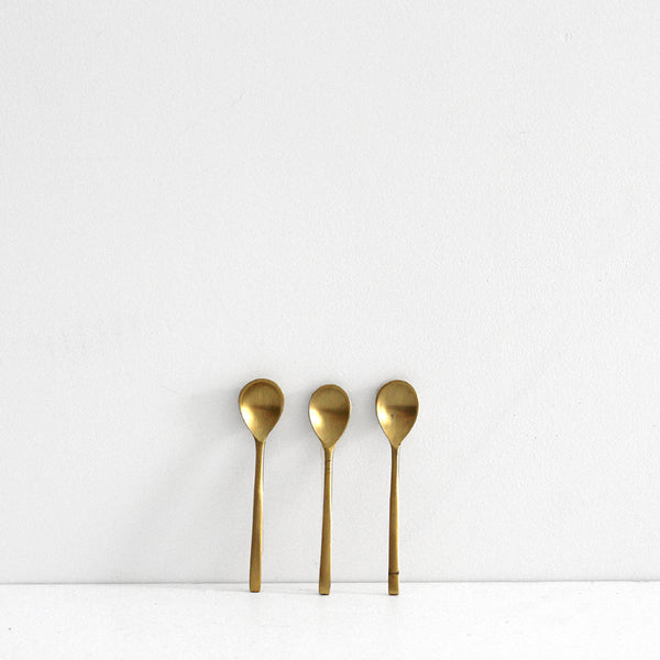 Brass Salt Spoons- - set of 3
