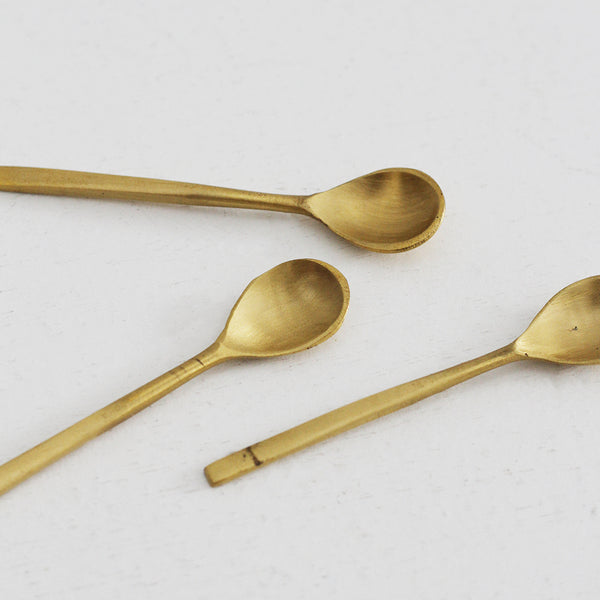 Brass Salt Spoons - set of 3