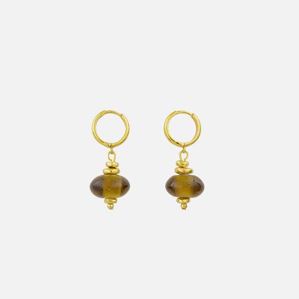 Lucia Glass Bead Earrings - Gold/Honey