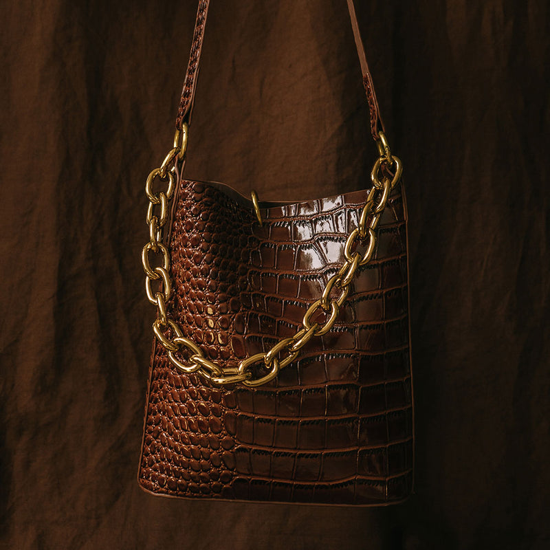 Mini Bucket Bag - Dark Brown Oily Croc