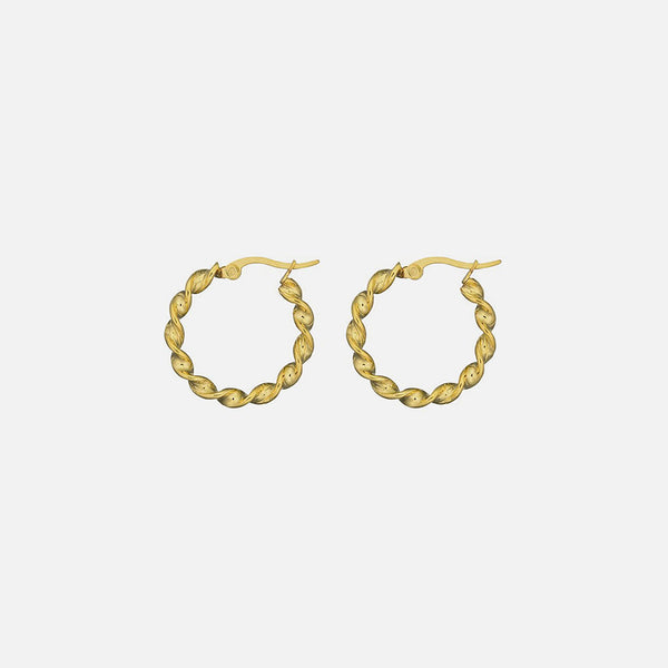 Small Swirl Hoops - Signature Gold