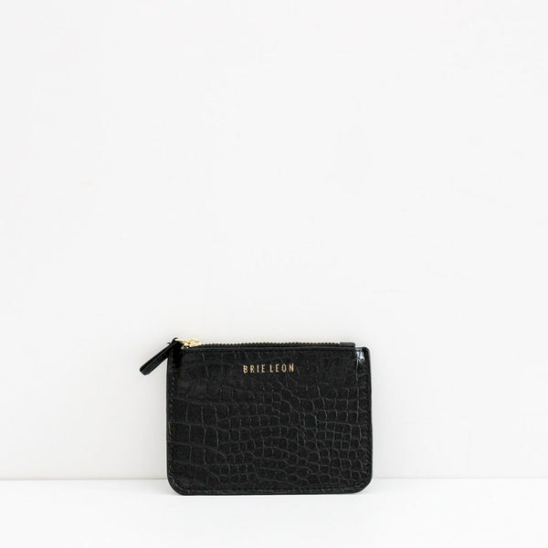 Small Zip Pouch - Matte Black Croc