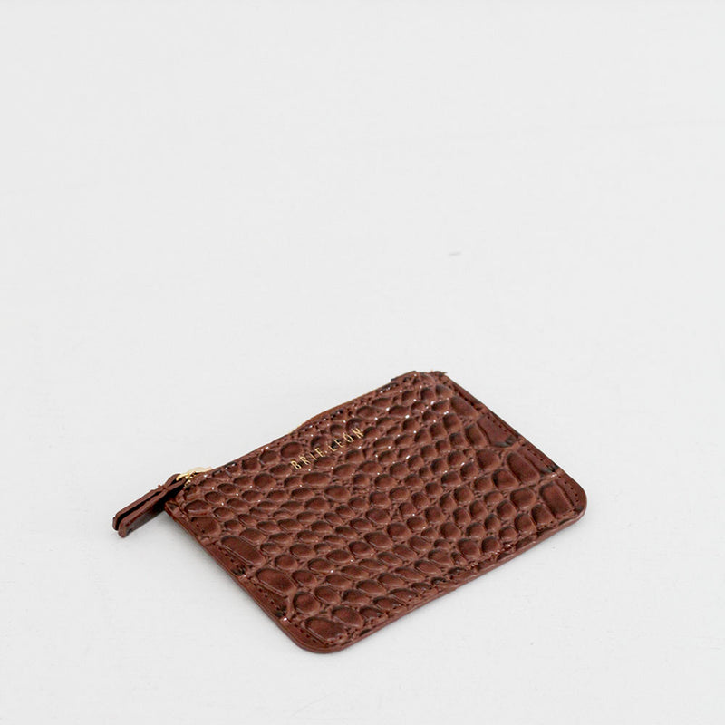 Small Zip Pouch - Dark Brown Oily Croc