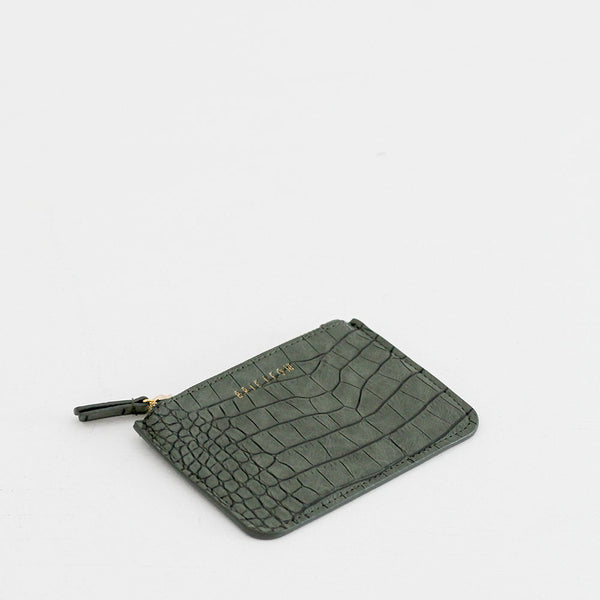 Small Zip Pouch - Matte Green Croc