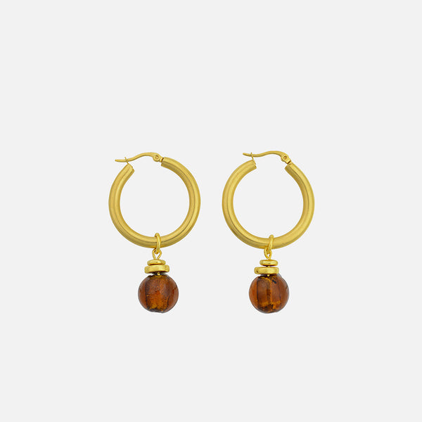 Valentina Glass Bead Hoops  - Gold/Toffee