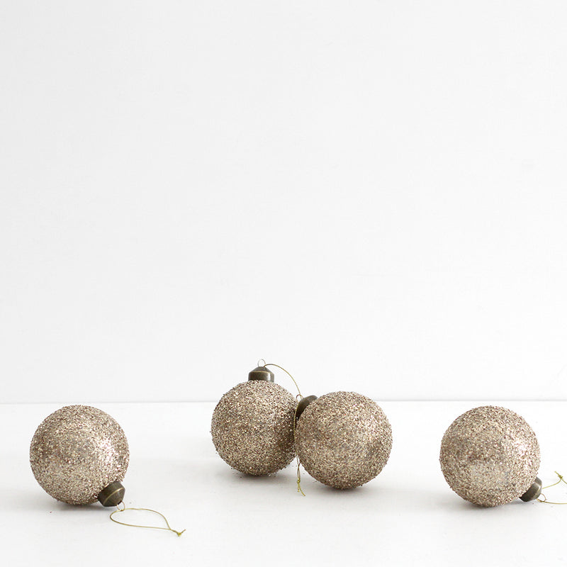 Champagne Glitter Baubles - Set of 4