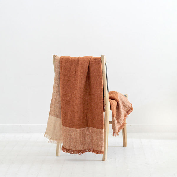 Chester Linen Throw - Chestnut