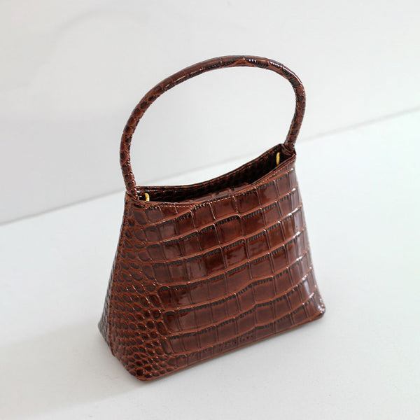 The Chloe - Dark Brown Oily Croc