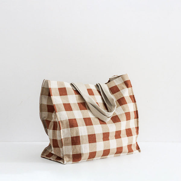 Gingham Beach Bag - Chestnut