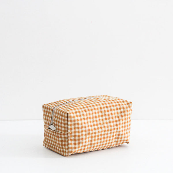 Large Gingham Wash Bag - Pumpkin
