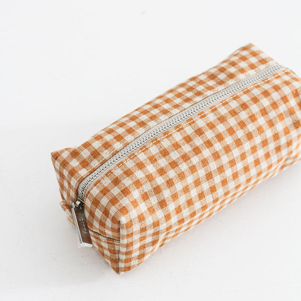 Small Gingham Wash Bag - Pumpkin