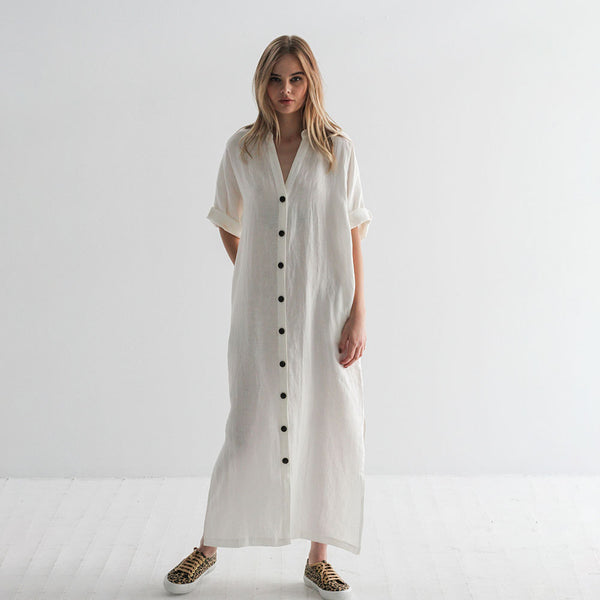 Claud Linen Duster Dress - White