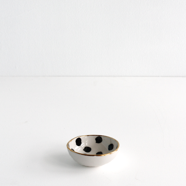 Black Dot Ring Bowl with Gold Rim