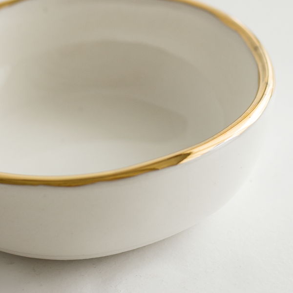 White Gold Rim Ramekin