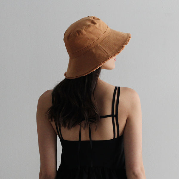 Cotton Frayed Hem Bucket Hat - Clay