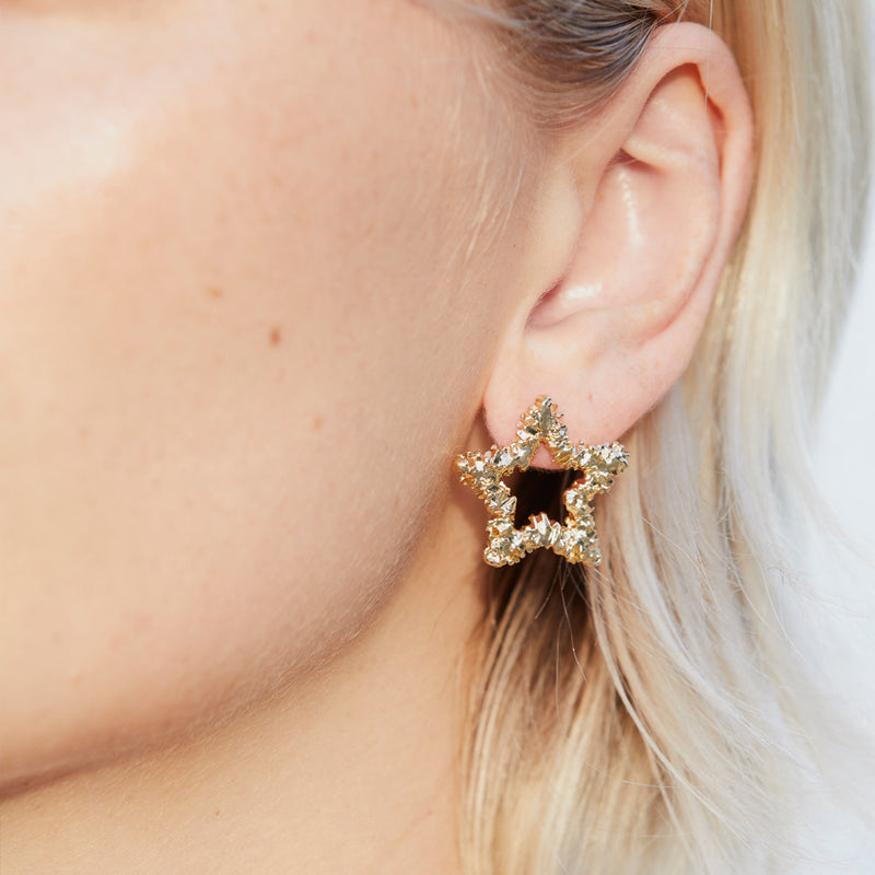 Crinkle Star Gold Plated Stud