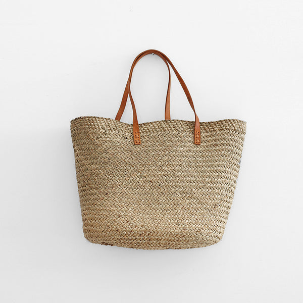 Delphi Market Bag - Natural with Leather Handle