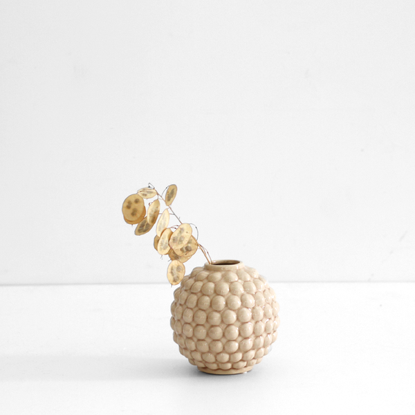 Dotty Round Vase - Cream / Tan