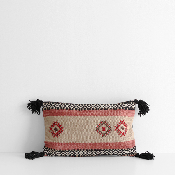 Embroidered Cushion - Black / Camel / Paprika