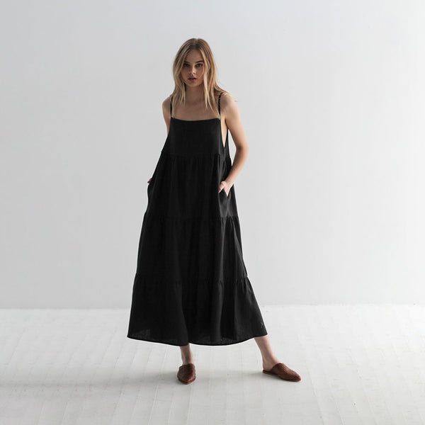 Emma Linen Sundress - Black