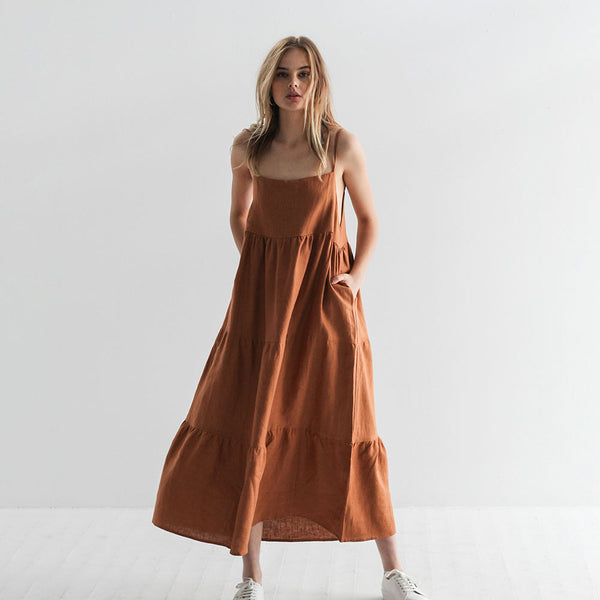 Emma Linen Sundress - Cinnamon