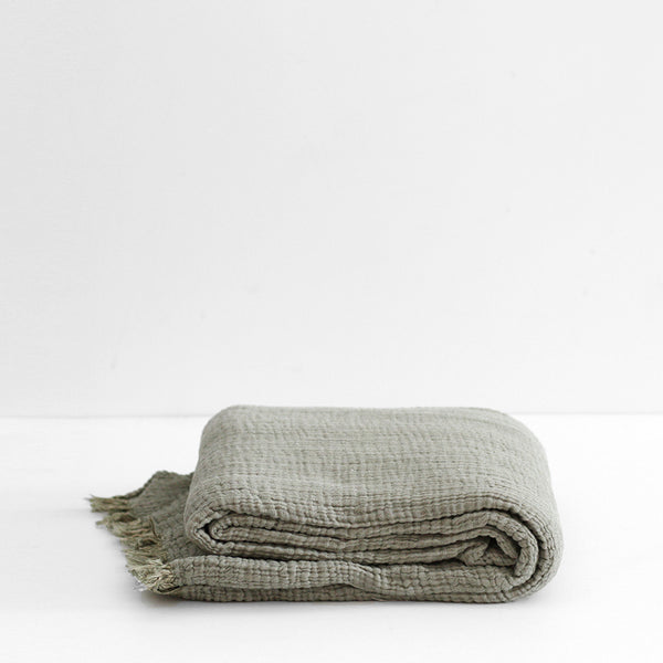Enes Cotton Throw - Olive/Clay