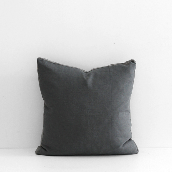 Essential Linen Cushion with Velvet Edging - Double Aspiring