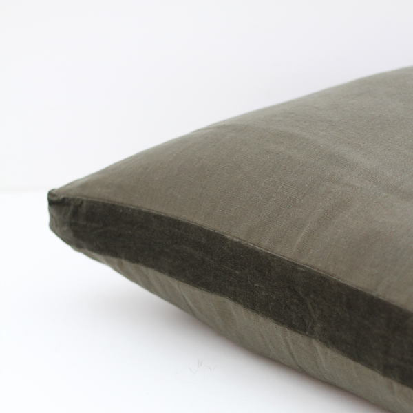 Essential Linen Cushion with Velvet Edging - Rosemary