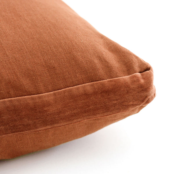 Essential Linen Cushion with Velvet Edging - Sun Kissed