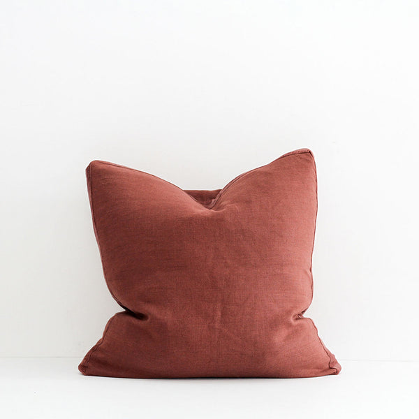 Essential Linen Cushion with Velvet Edging - Syrup