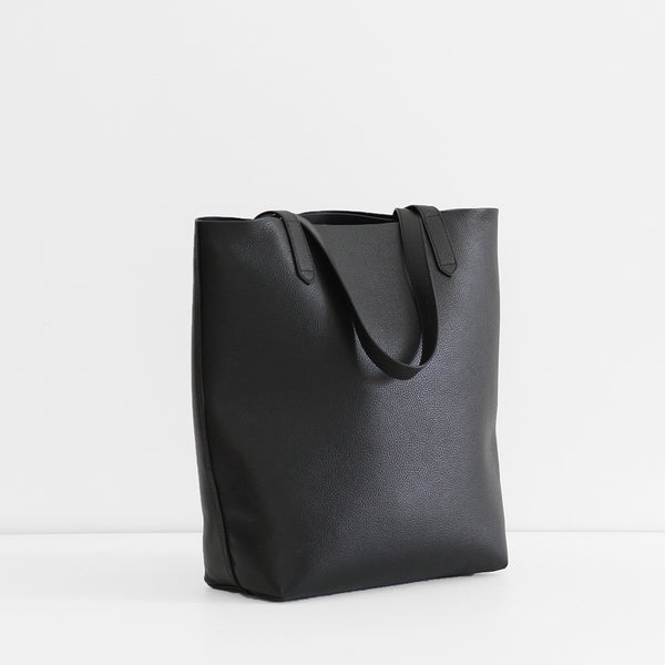 The Everyday Leather Tote - Black