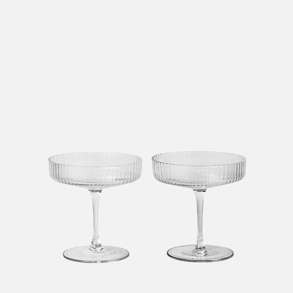Ripple Champagne Saucer Set of 2 - Clear