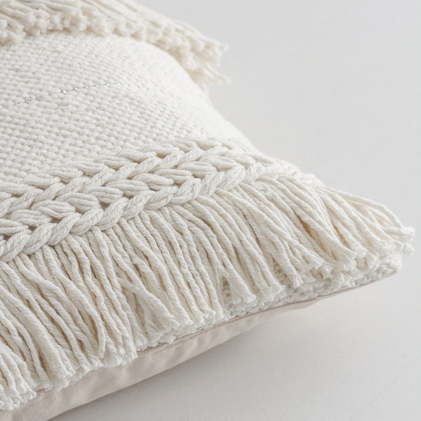 Fringed Cushion - White