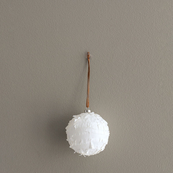 Fringe Bauble Decoration - White Set of 4