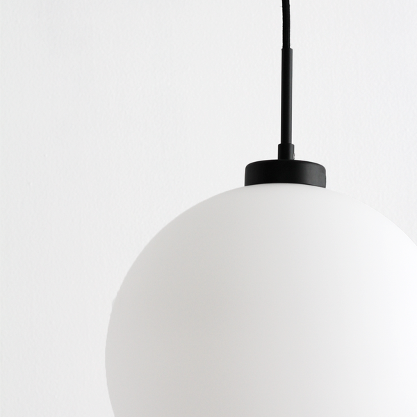 Frosted Globe Light with Black Bar