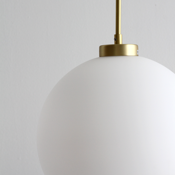 Frosted Globe Light with Brass Bar