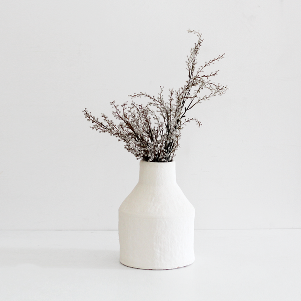 Genette Ceramic Vase - White Sea Foam